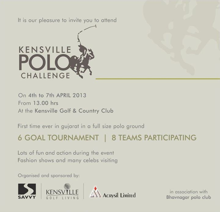 First Time Ever in Gujarat in a Full Size Polo Ground - Kensville Polo Challenge