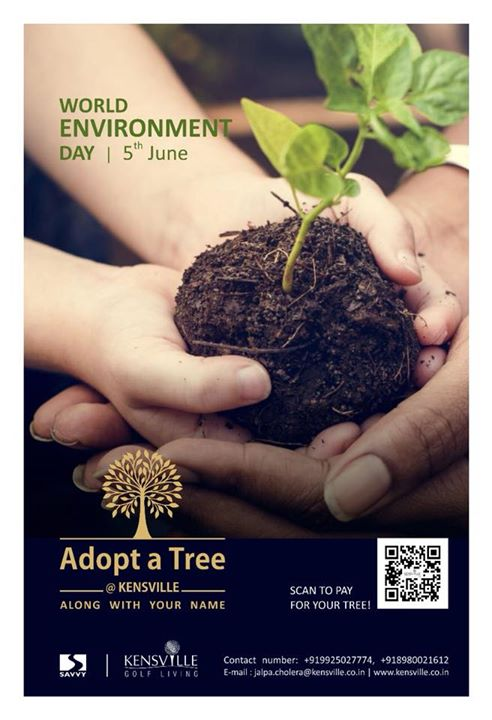 This Environment Day lets join hands for a good cause towards our Mother Earth and give her a gift back by planting enormous number of trees. Kensville Golf & Country Club has come up with an initiative that welcomes you all to Adopt Trees that will be planted in your presence and nurtured at Kensville along with your name tag on it. *Conditions apply.  To pay online click on the below link: Payment Link : http://kensville.co.in/kens_adopttree.php To Adopt Trees, Contact +919925027774, +918980021612 OR Send us an e-mail on jalpa.cholera@kensville.co.in   Website: www.kensville.co.in
