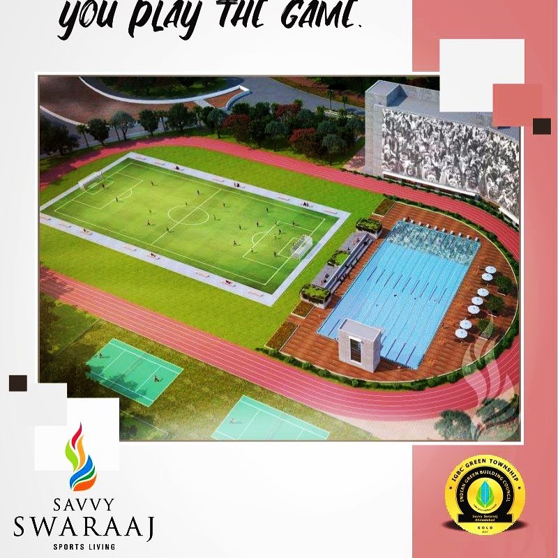 It's not about winning or losing, it's about how wisely you play the game!  #SwaraajSportsLiving #SavvyGroup #RealEstate #Ahmedabad #Sports #SportyEnvironment #Nature #Freshness #SportyLounge #recreationalfacilities