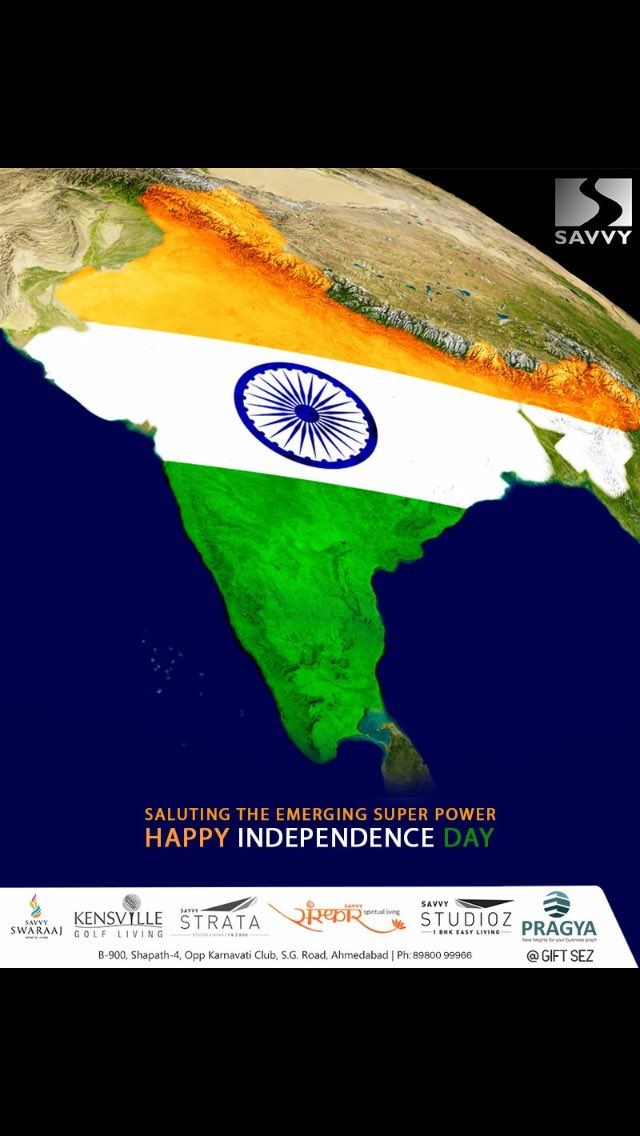 Saluting the emerging superpower!  #HappyIndependenceDay #IndependenceDay18 #IndependenceDay #IndependenceWeek #Celebration #15thAugust #Freedom #SavvyGroup #RealEstate #Ahmedabad https://t.co/vMf9dlWN1u