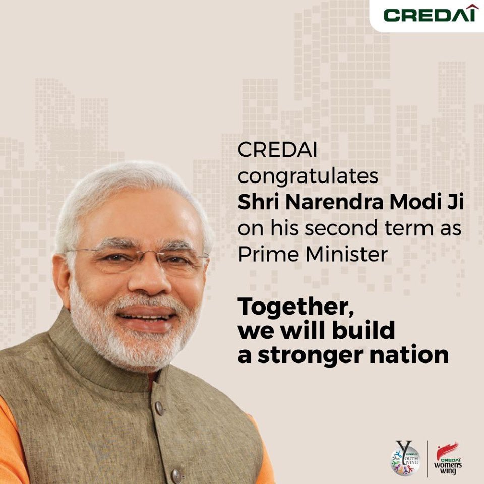 We congratulate Prime Minister Sh. Narendra Modi on the remarkable win in #IndianElections2019. We at #CREDAI pledge to work hand in hand with the government to build a stronger India. #PragatiKiAur #VijayiBharat https://t.co/7P22eLPUvd