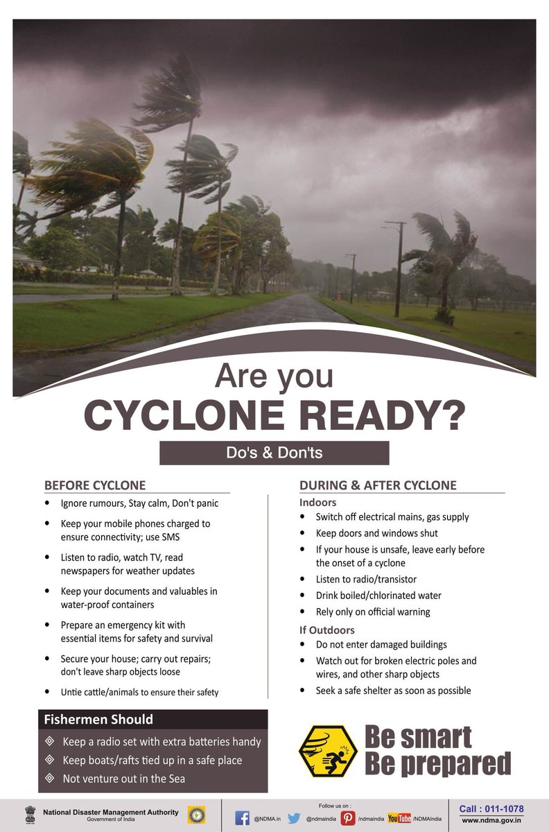 RT @InfoGujarat: Do's And Dont's during a #Cyclone   Be cyclone ready https://t.co/wXb1X3Vgwe