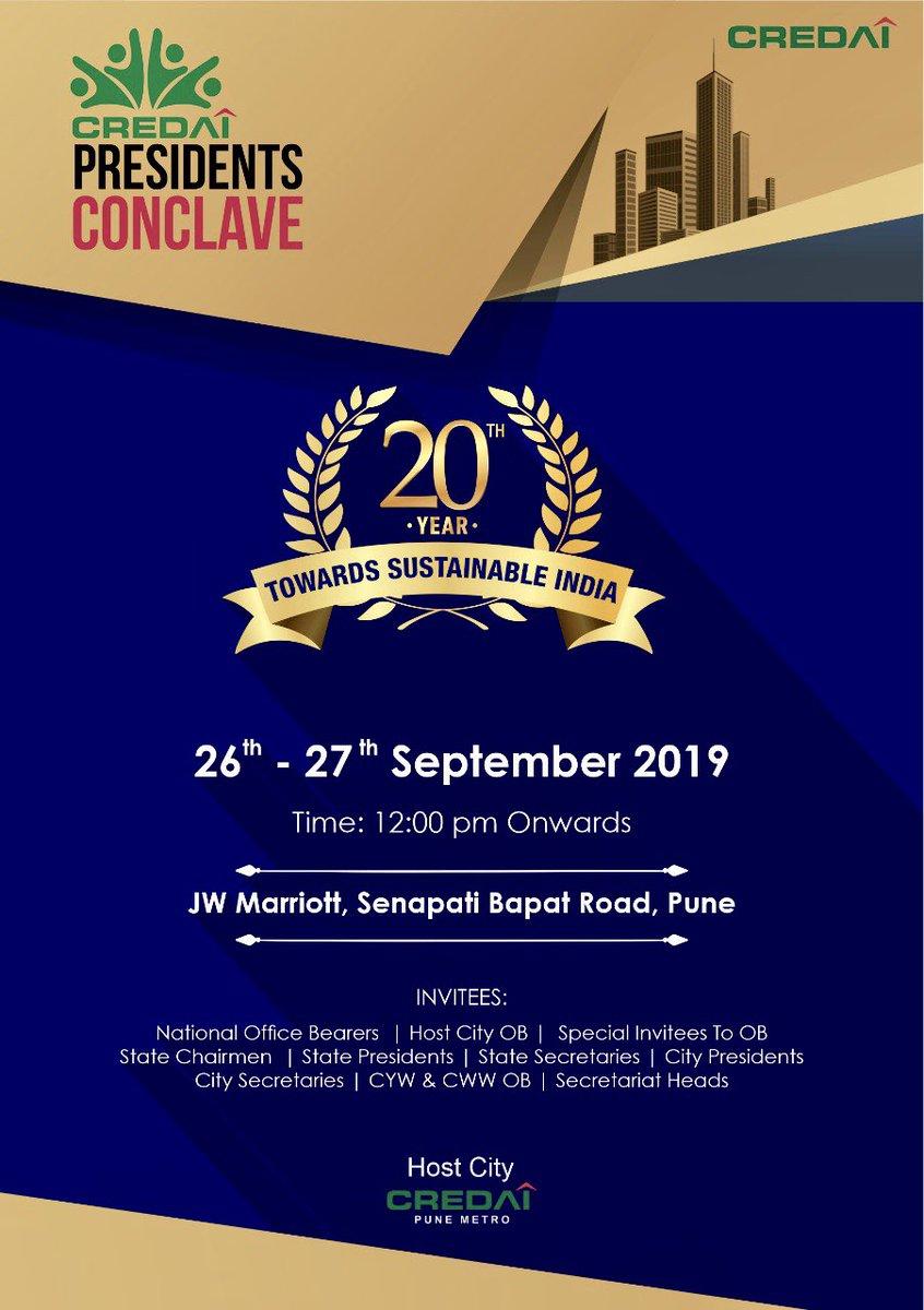 Looking forward to seeing you all !   @CREDAINational @CREDAI_MCHI @CREDAI_Gujarat @CredaiBengal @CredaiPunemetro @credaiUP @CredaiOdisha @Secretary_MoHUA @nsitharaman @narendramodi @PMOIndia @FinMinIndia @HardeepSPuri https://t.co/oMewacnAld