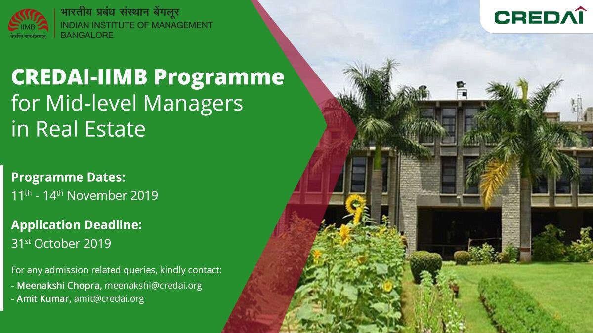 CREDAI launches first-of-its-kind Specialized Course for Mid-managers in Real Estate.  https://t.co/HoYsX9z9Xu Admission Related Queries Ms. Meenakshi Chopra and Mr. Amit Kumar Mob: +91-9911639410, 85889 36494  Email: meenakshi@credai.org and amit@credai.org @CREDAINational https://t.co/0jHHYAEDgj