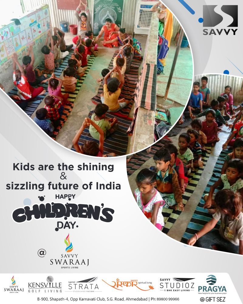 Kids are the shining & sizzling future of India.  #HappyChildrensDay #ChildrensDay #SavvyGroup #RealEstate #Ahmedabad #Gujarat #India https://t.co/YmitZ0bOVq