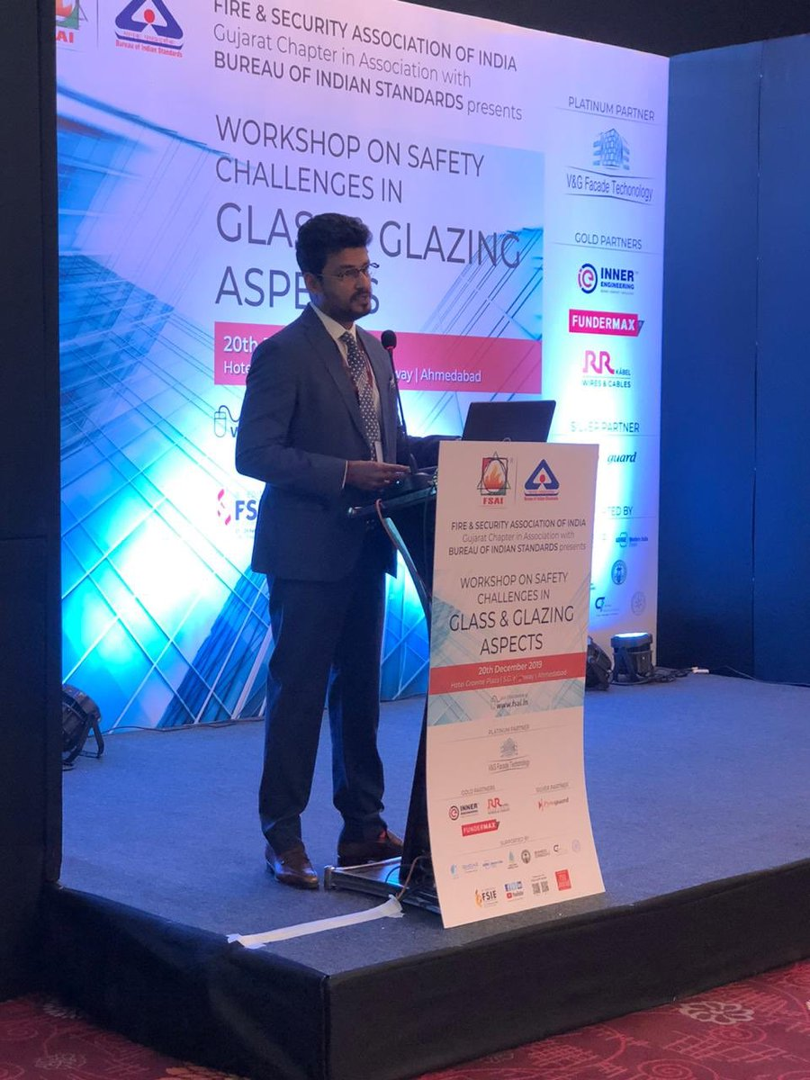 Addressed the Workshop on Safety Challenges in Glass & Glazing Aspects in Association with BIS in the august presence of  Mr.D K Shami -Fire Advisor, Govt. of India Mr. M F Dastoor- chief fire services govt of Guj @SavvyAhmedabad @CREDAINational @ASSOCHAM4India https://t.co/xbkBspRdzY
