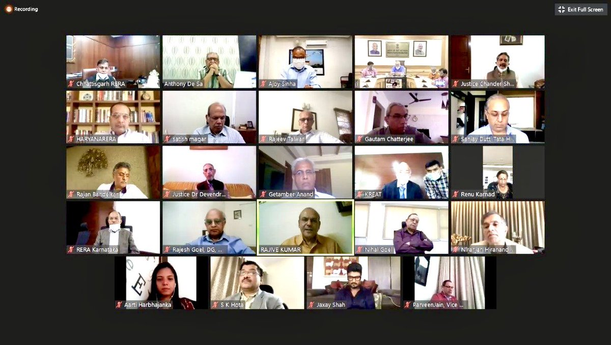 Attending the 3rd #RERA Anniversary celebration through webinar conducted under the chairmanship of Hon'ble Minister of State, @MoHUA_India   @Secretary_MoHUA & other industry stalwarts along with @CREDAINational leadership attending the webinar.  @CREDAINational   #HousingForAll https://t.co/vQmSpykv0K