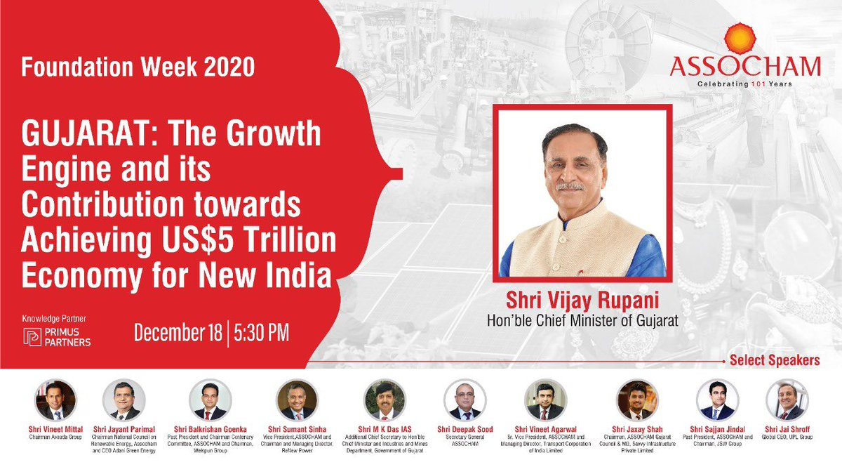With stellar progress through ease of doing business, #Gujarat is all set to become India's Growth Engine towards US5$ trillion economy. Focusing this @CMOGuj, @vijayrupanibjp will be addressing today, 05:30 PM at @ASSOCHAM4India #Register-https://t.co/DdLEanTIbr @SavvyAhmedabad https://t.co/EQLY2RA218