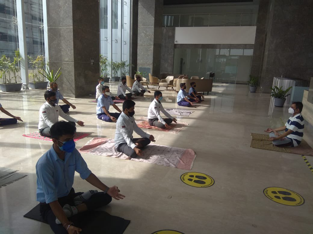 Every day morning, *Yoga Pranayam, Yogasans session* training  to full team (both shifts) of Security, Housekeeping, Technical staff. Team is feeling safe and motivated with full zeal and back to passion for work🙏at Pragya. @GIFTCity_ @SavvyAhmedabad @CBRE_India @CREDAINational https://t.co/ZRY9zgXQDQ