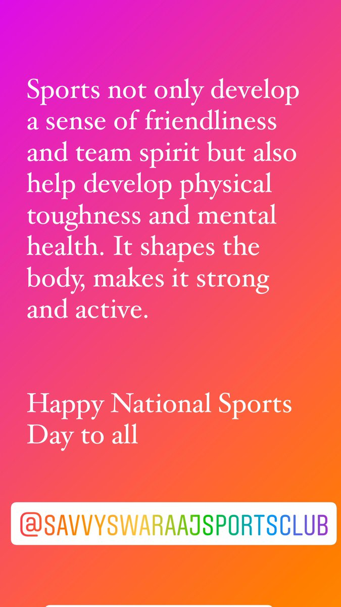 On National Sports Day, greetings to all the sports enthusiasts & I salute the sports stars of India,who dedicate their lives to bringing glory to the nation.Happy National Sports Day everyone! @SavvyAhmedabad @KensvilleGolf @CREDAINational @ASSOCHAM4India #sports #BhavinaPatel https://t.co/kBVW1xf0Za